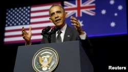 President Barack Obama speaks at the University of Queensland in Brisbane, Australia, Nov. 15, 2014. Obama is in Brisbane for the G20 Summit being held there this weekend.