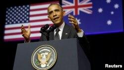 美國總統奧巴馬在布里斯本昆士蘭大學發表演講