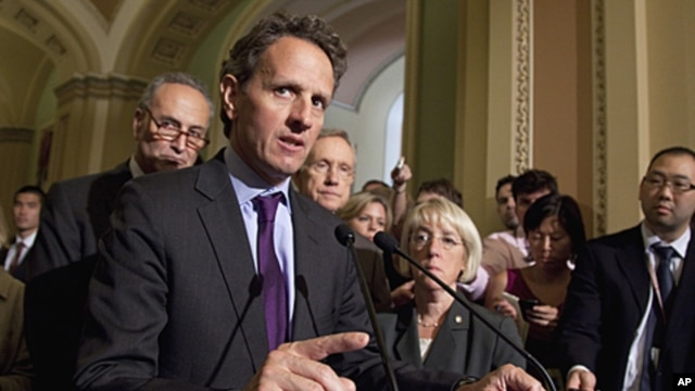 Treasury Secretary Timothy Geithner makes remarks after a meeting with Democrats about the debt limit, July 14, 2011