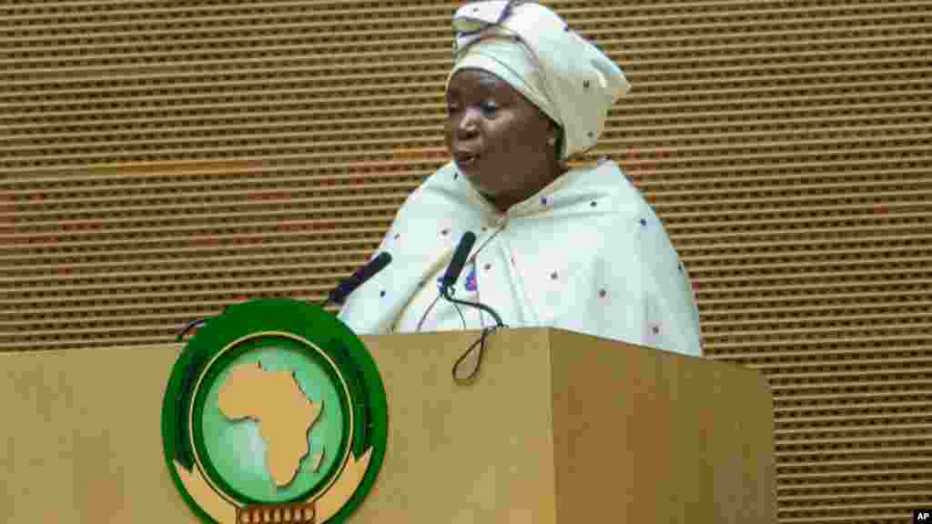 African Union Commission Chairperson Nkosazana Dlamini Zuma, delivers a speech during the opening ceremony of the 26 ordinary of the African Union Summit in Ethiopian capital Addis Ababa, Saturday, Jan. 30, 2016.