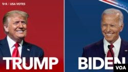 This side-by-side picture shows US President Donald Trump and Democratic presidential nominee Joe Biden.