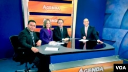 Patricia Dalmasy de-Lucio joins Hispanic Agenda alongside co-panelists John Gonzalez with ABC (far left), Alberto Avendaño of El Tiempo Latino (center) and Hispanic Agenda host, Alejandro Negrón (far right).