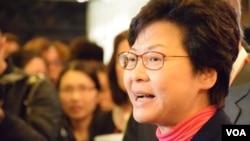 香港特首候選人林鄭月娥 (美國之音湯惠芸)