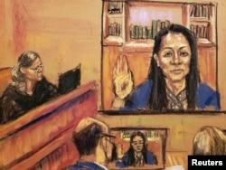 法庭素描显示华为首席财务官孟晚舟通过视频从加拿大参加位于纽约布鲁克林联邦法院的听证并宣誓。(2021年9月24日)