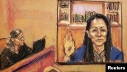 法庭速写呈现孟晚舟9月24日从加拿大视频出席纽约东区联邦地区法院听证会的现场。(2021年9月24日)