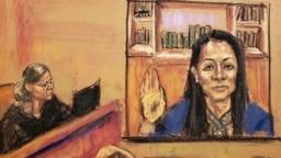 Chief Financial Officer Huawei Meng Wanzhou muncul selama sidang, yang dihadiri Meng secara virtual dari Kanada, di Pengadilan Distrik Federal Brooklyn dalam sketsa di New York, AS, 24 September 2021. (Foto: REUTERS/Jane Rosenberg)