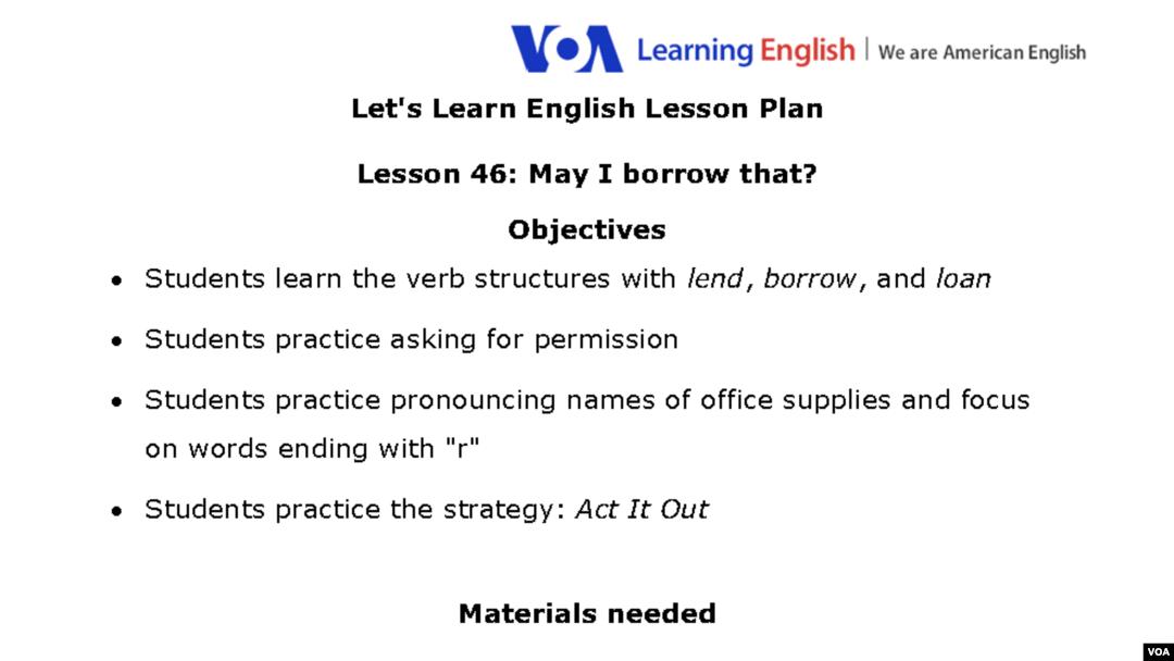 Lesson 46: May I Borrow That?