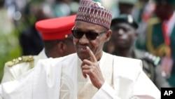 Nigerian President Muhammadu Buhari arrives for his Inauguration at the Eagle Square in Abuja, May 29, 2015.