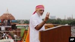 ນາຍົກລັດຖະມົນຕີອິນເດຍ ທ່ານ Narendra Modi ກ່າວຄຳປາໄສ ທີ່ນະຄອນຫລວງ New Delhi ປະເທດອິນເດຍ. (15 ສິງຫາ 2016)