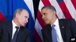 지난해 6월 G20 정상회담에서 논의 중인 오바마 대통령과 푸틴 대통령