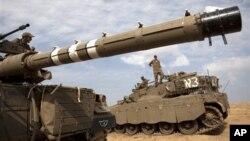 이스라엘 남부 가자지구 국경근처에 배치된 이스라엘 병력