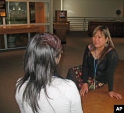 Social worker Leah Esguerra has met with 250 people in just over a year. Thirty-five found temporary housing and 15 found a permanent place to live.