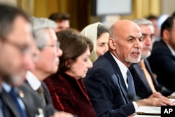 Afghan President Ashraf Ghani speaks during the U.N. Conference on Afghanistan in Geneva, Switzerland, Nov. 28, 2018.