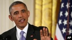 바락 오바마 미국 대통령이 15일 백악관에서 이란 핵 협상 타결에 관한 기자회견을 하고 있다.