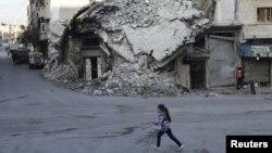 2015年12月21日敘利亞伊德利卜省反政府武裝控制的地區。