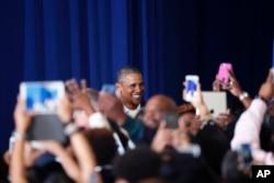 Presidente Obama llega a la escuela secundaria McKinley, en Baton Rouge, Louisiana. Enero 14, 2016.