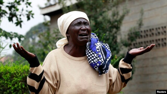 Mary Italo mourns the death of her son Thomas Italo who was killed during the attack at the Westgate Shopping Center in the capital Nairobi, Kenya, Sept. 25, 2013.