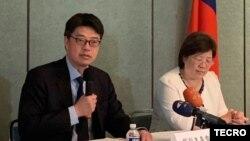 台灣陸委會副主委邱垂正2019年9月19日在台灣駐美代表處舉行記者會(台灣駐美代表處照片)