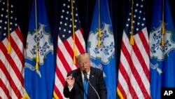 Le candidat républicain à la Maison-Blanche Donald Trump à Bridgeport, Connecticut, 23 avril 2016.