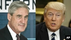 FILE - Former FBI Director Robert Mueller, named special prosecutor to the investigation of Russia's involvement in the 2016 U.S. presidential election, and President Donald Trump.
