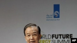 China's Premier Wen Jiabao speaks during the opening ceremony of the World Future Energy Summit at the Abu Dhabi National Exhibition Center, January 16, 2012
