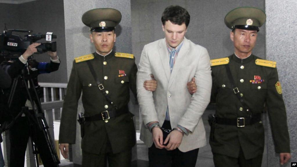美国大学生瓦姆比尔在朝鲜最高法院被押解(2016年3月16日)