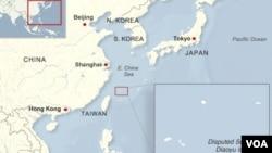 中日有爭議的釣魚島/尖閣列島地理位置