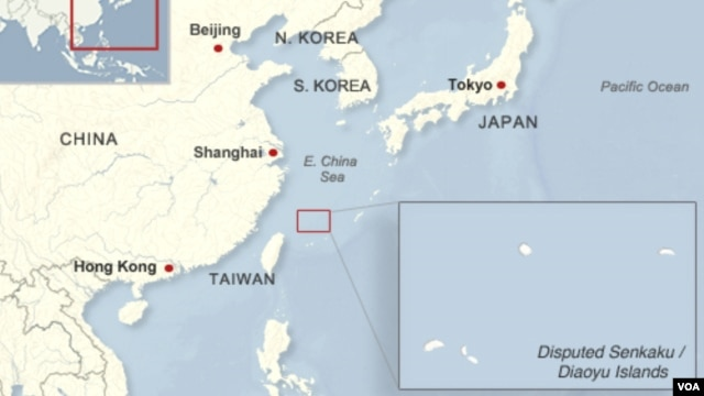 Locator map of the disputed Senkaku/Diaoyu Islands