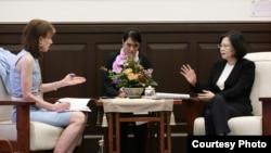 台湾总统蔡英文7月21日在总统府接受了华盛顿邮报资深副主编韦茅斯的专访(台湾总统府提供)