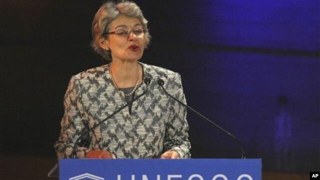 UNESCO Director General Irina Bokova delivering a speech, Paris, Jan. 30, 2012.