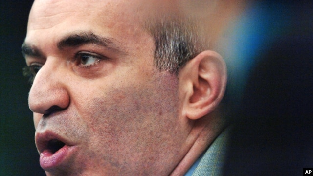 Garry Kasparov, Russia's most prominent opposition leader and former world chess champion holds a news conference at the European Parliament in Strasbourg, eastern France Wednesday, May 23, 2007