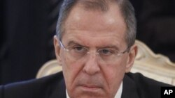 Russian FM Sergey Lavrov seen during his meeting with Bahraini FM Sheik Khalid bin Ahmed Al Khalifain in Moscow, Russia, February 6, 2012.