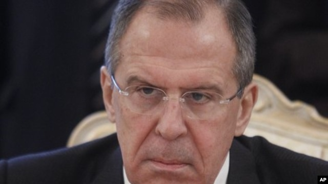 Russian FM Sergey Lavrov seen during his meeting with Bahraini FM Sheik Khalid bin Ahmed Al Khalifain in Moscow, Russia, February 6, 2012.