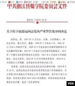 浙江传媒学院党委处罚文件