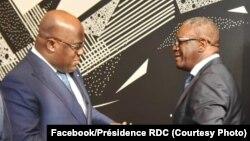 Président Félix Tshisekedi akutani na Dr. Denis Mukwege, Prix Nobel ya 2018, na New York, 24 septembre 2019. (Facebook/Présidence RDC)