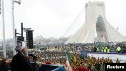 Presiden Iran, Hassan Rouhani, berbicara dalam upacara peringatan Revolusi Islam Iran ke-40 di Teheran, Iran, 11 Februari 2019 (foto: Situs Resmi Kepresidenan Iran via Reuters)
