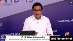 Prof Wiku Adisasmito, juru bicara Satgas Penanganan COVID-19 dalam telekonferensi pers di Graha BNPB, Jakarta, Selasa (13/10) (screenshot)