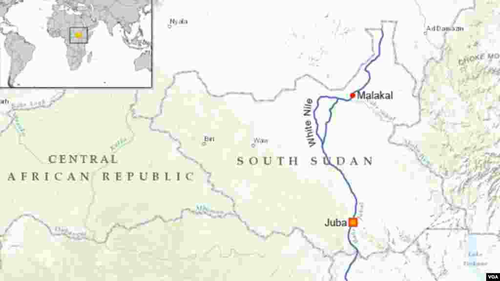 The city of Malakal rests on the bank of the White Nile River, South Sudan.