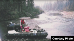 John Sturgeon with his hovercraft near Alaska's Yukon River. The U.S. Supreme Court is considering whether a National Park Service ban on hovercrafts applies in an Alaskan wilderness area where he was cited for using it.