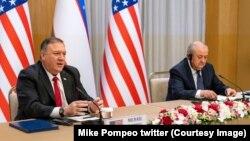مایک پمپیو د ازبکستان د بهرنیو چارو له وزیر سره د خبري کنفرانس پر مهال