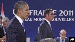 美國總統奧巴馬和法國總統薩科齊星期四在康城二十國集團經濟峰會期間