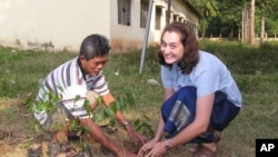 Erica Herrmann, right, is among the first group of 29 US volunteers to join the Peace Corps mission to Cambodia.
