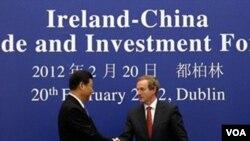 Wapres Tiongkok Xi Jinping (kiri) berjabat tangan dengan PM Irlandia Enda Kenny di Dublin (20/2).