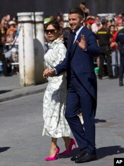 دیوید بکهام و همسرش ویکتوریا بکهام از مهمانان مراسم ازدواج راموس در کلیسای تاریخی سویل بودند
