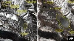 미국 존스홉킨스대 한미연구소에서 운영하는 북한 전문 웹사이트 '38노스'가 지난 1월과 2월에 공개한 풍계리 핵실험장 모습. 이 웹사이트에 따르면 지난 2월 풍계리 핵실험장에서 지하터널 굴착 공사로 보이는 활동이 부쩍 증가했다. 북한은 지난해 5월 터널 공사를 시작했다.