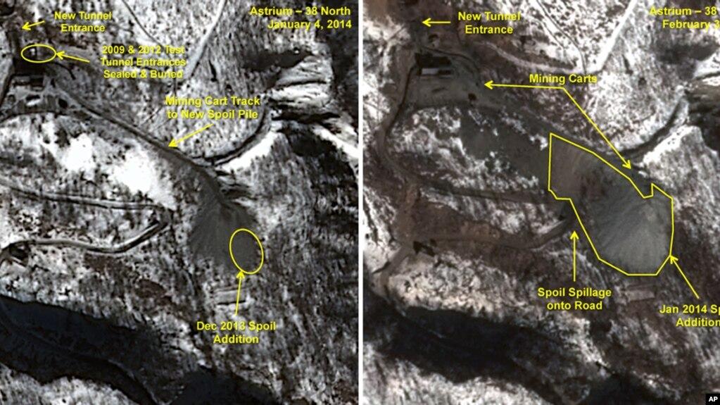 Các ảnh vệ tinh chụp vùng đất được nghi là bãi thử hạt nhân của Triều Tiên, tháng 1 và 2/2014
