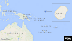 Peta letak pulau Nauru, dekat Australia.
