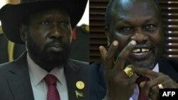 Un combiné de photos du président sud-soudanais Salva Kiir et le chef rebelle Riek Machar.