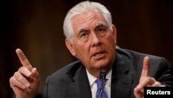 美國國務卿蒂勒森星期三在眾議院外交委員會上作證
