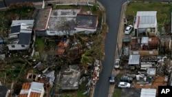 پورٹو ریکو کے ایک متاثرہ علاقے کا فضائی منظر